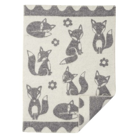 Babyfilt Klippan Fox ekologisk lammull Grey
